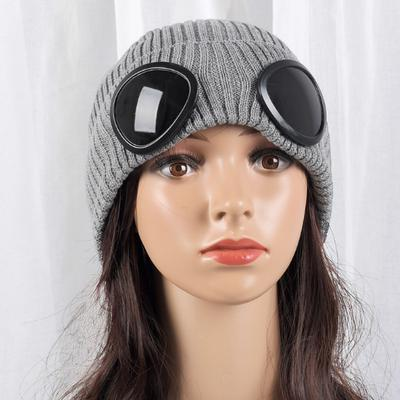 90f3e2f05cb Winter Beanies Hats Women Men Warm Baggy Stretchy With Sunglaases Pilot Knit  Caps