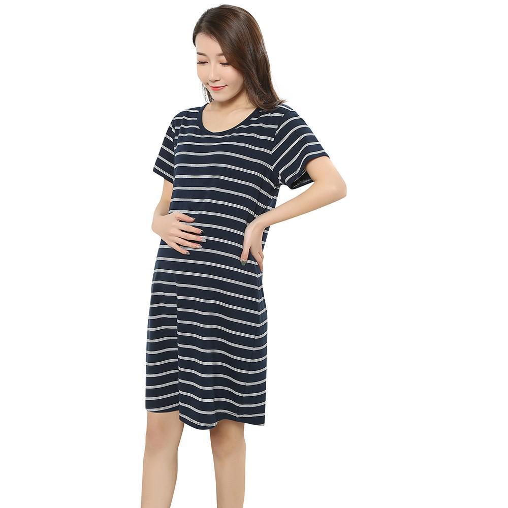 cbe2b8d7ddb5 Vestiti delle donne incinta maternità estate moda a righe manica ...