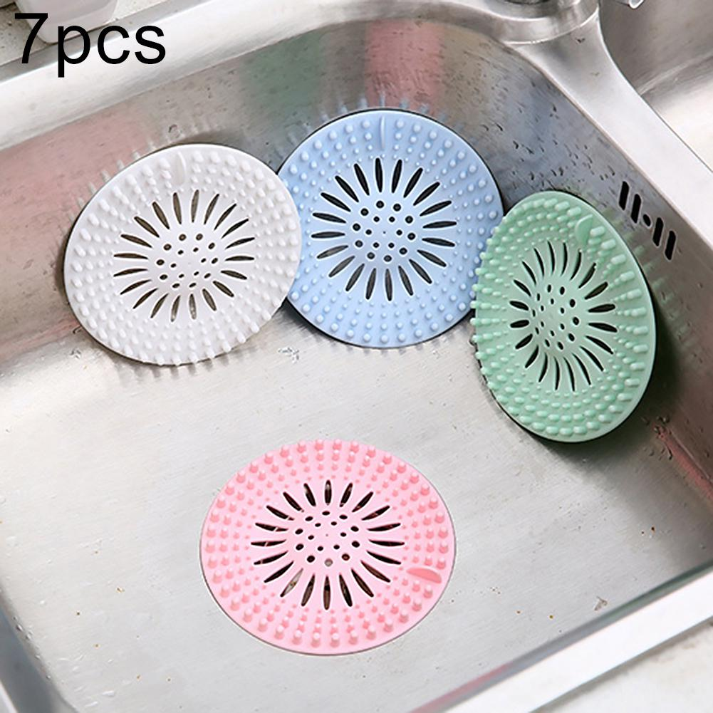 9Pcs Silicone Kitchen Anti Clog Floor Drain Filter Sink Strainer Hair Trap  Tool