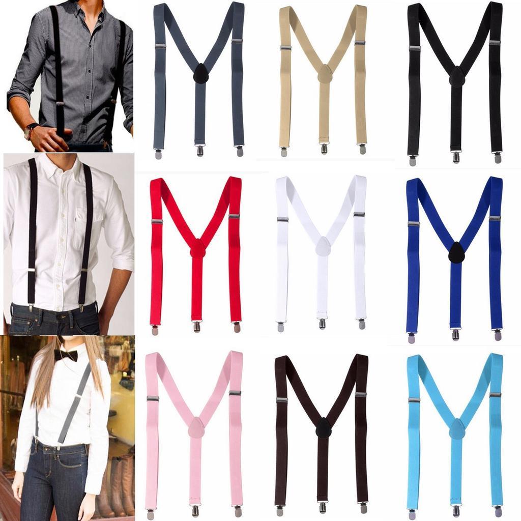 LC/_ Unisex Candy Color Clip-on Elastic Suspenders Y-Shape Adjustable Braces En