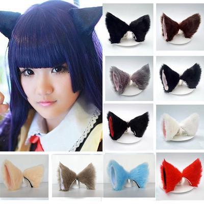 Cute Beauty Cosplay Party Halloween Hair Clip Orecchiette Cat Fox Long EA9