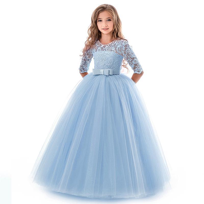 UK Girls Bridesmaid Dress Kid Lace Flower Party Princess Wedding Pageant Dresses