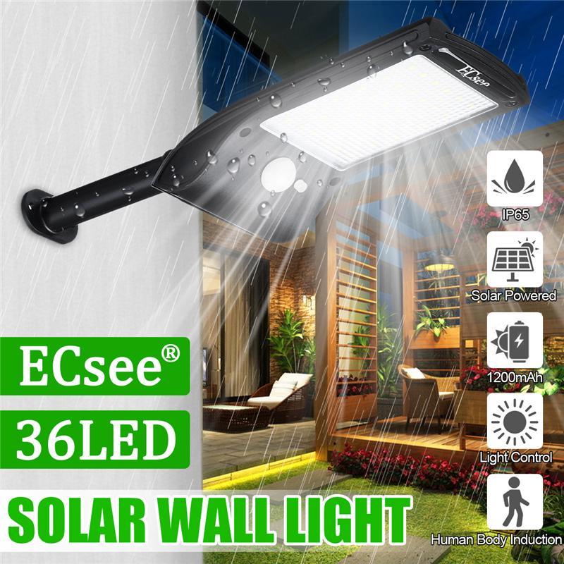 36LED Solar Wall Street Light PIR Motion Sensor Waterproof Outdoor Garden Lamp A