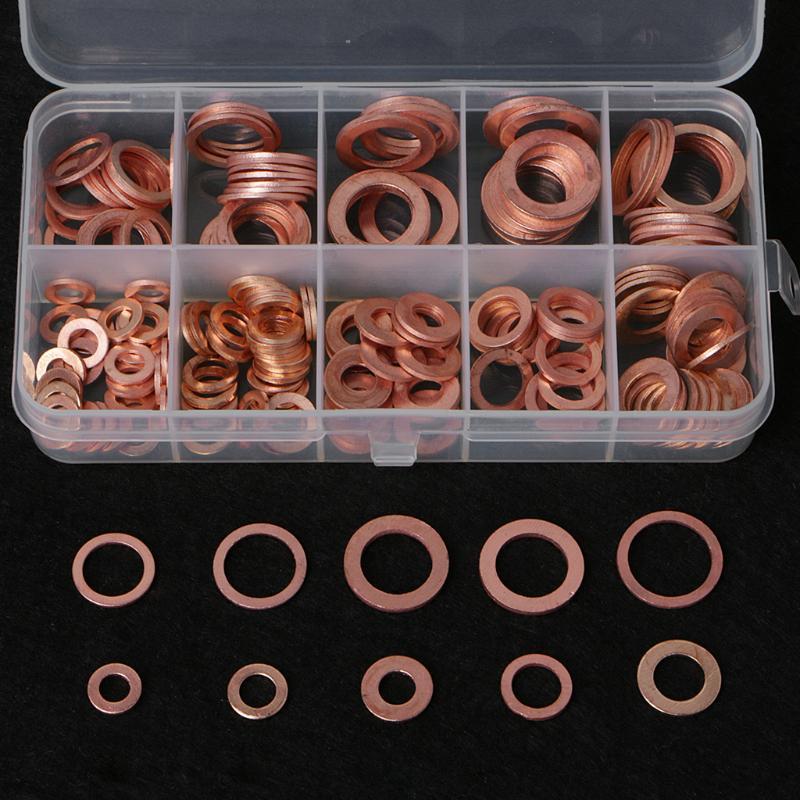 Las lavadoras de cobre s/ólido sellan el surtido de tapones del c/árter del anillo plano con una caja de 80 piezas