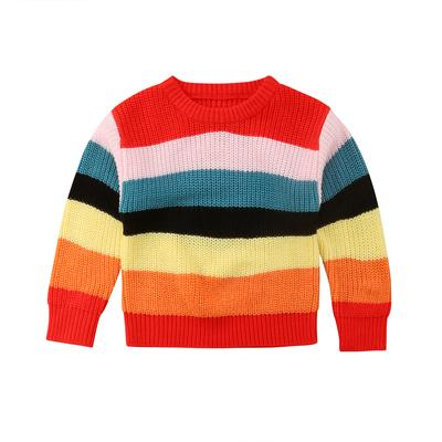 8d5ce5bc7 Rainbow Colorful Baby Girls Sweaters Oversize Long Sleeve Striped ...