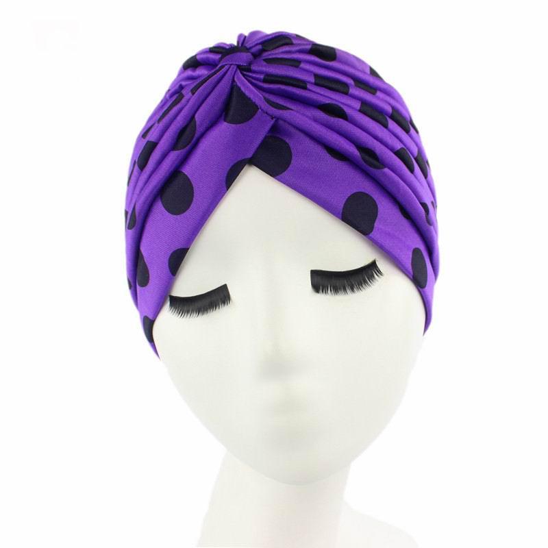 7 colores de moda primavera mujeres plisaron turbante banda puntos ...