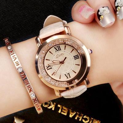Women Luxury Leisure Set Auger Leather Aanlog Stainless Steel Quartz Watch