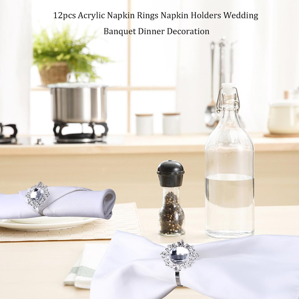 12pcs Acrylic Napkin Rings Napkin Holders Wedding Banquet Dinner Decoration Silver Buy At A Low Prices On Joom E Commerce Platform