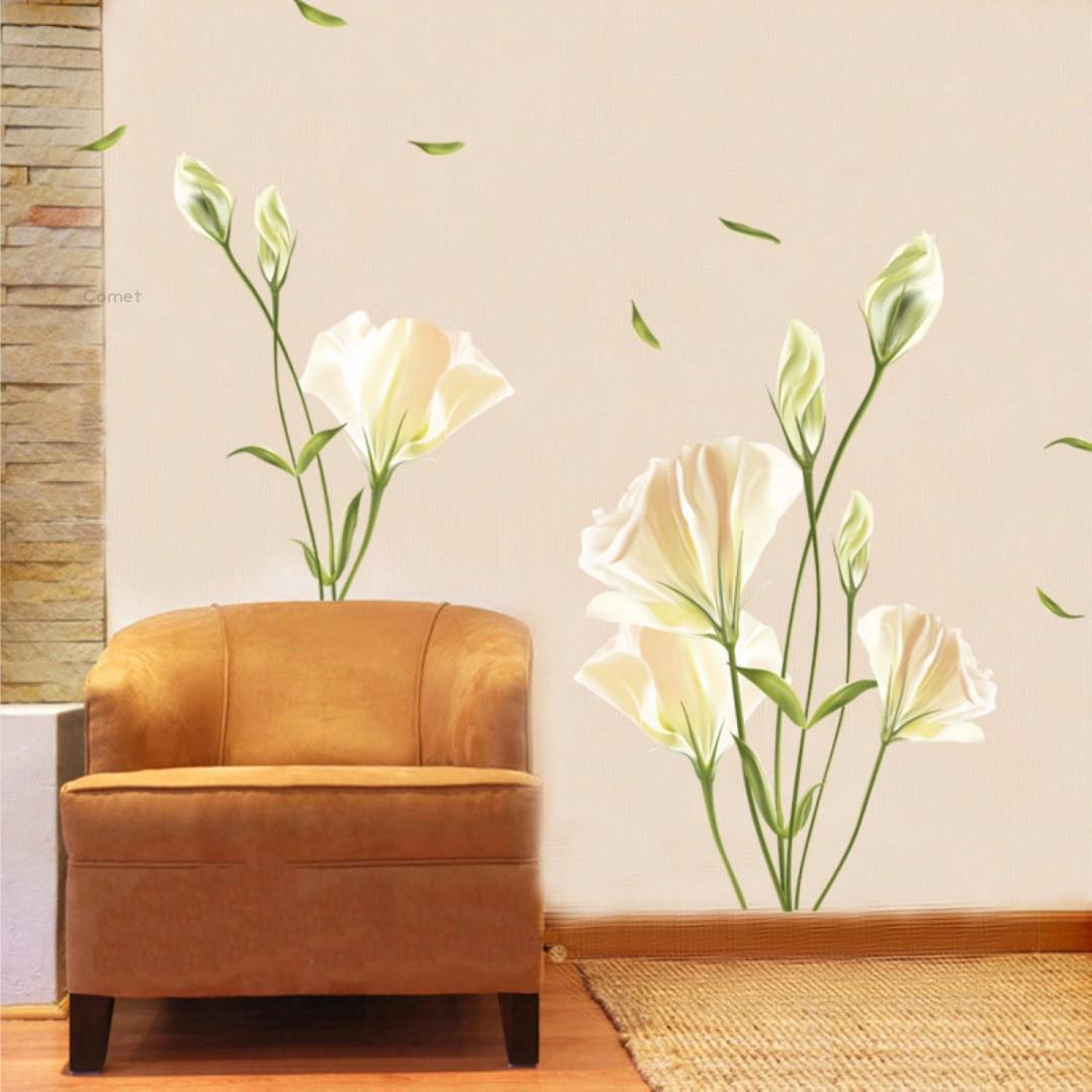 Pdtoweb Лили Цветок Главная гостиная Mural Decor Art Decal DIY Наклейка съемная фото