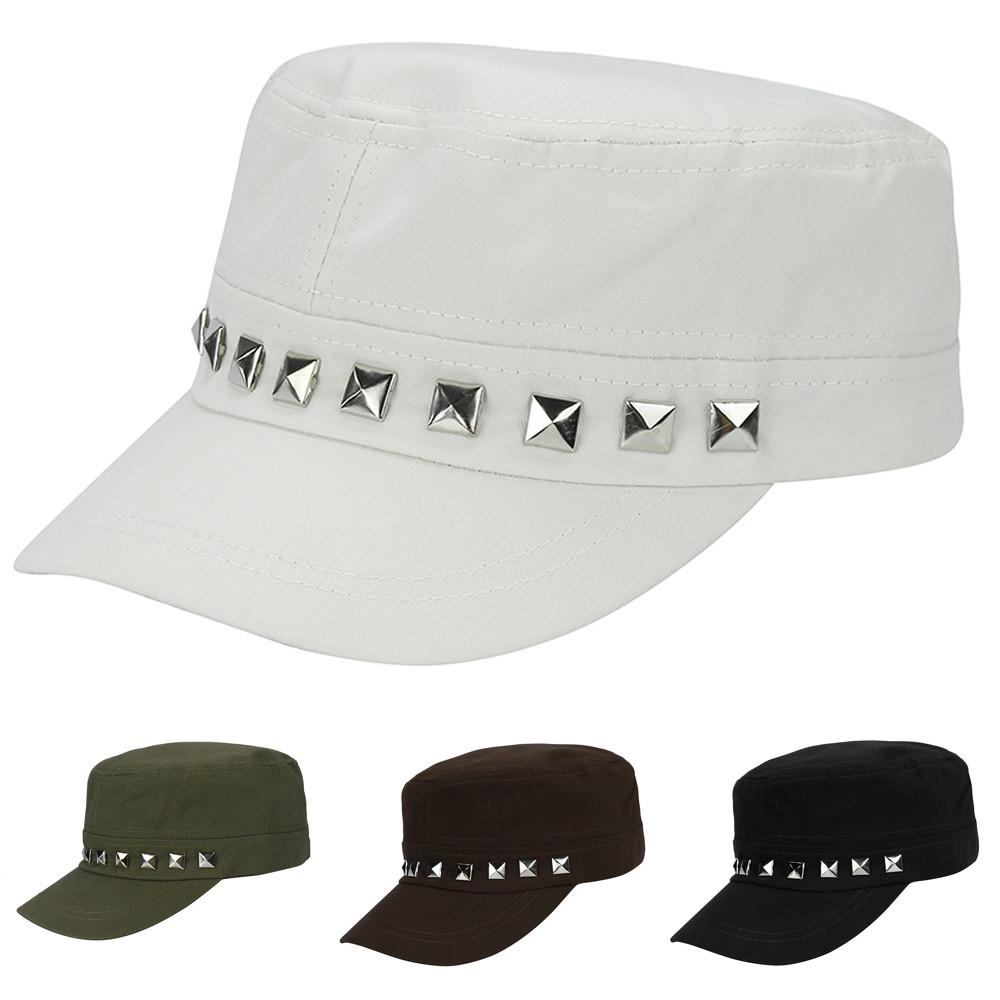 9c6846072f8 Adjustable Classic Plain Vintage Army Military Cadet Cotton Cap Rivets Hat  -buy at a low prices on Joom e-commerce platform