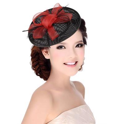 13d2f0110b1c2 Chic Fascinator Hat Cocktail Wedding Party Church Feather Cap Women Fedora  Headwear