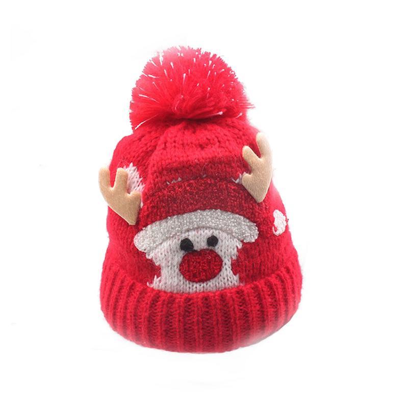 Los niños de punto sombrero de lana sombrero Navidad Coreano forro ... c172b2bbc13
