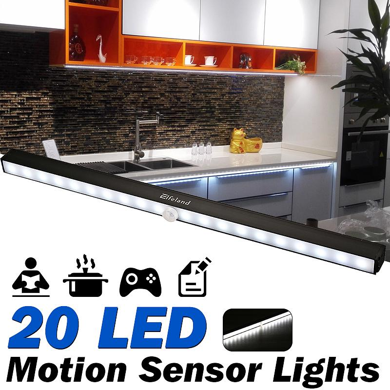 Elfeland Cabinet Lights 20 Led Motion, Battery Powered Kitchen Cupboard Lights