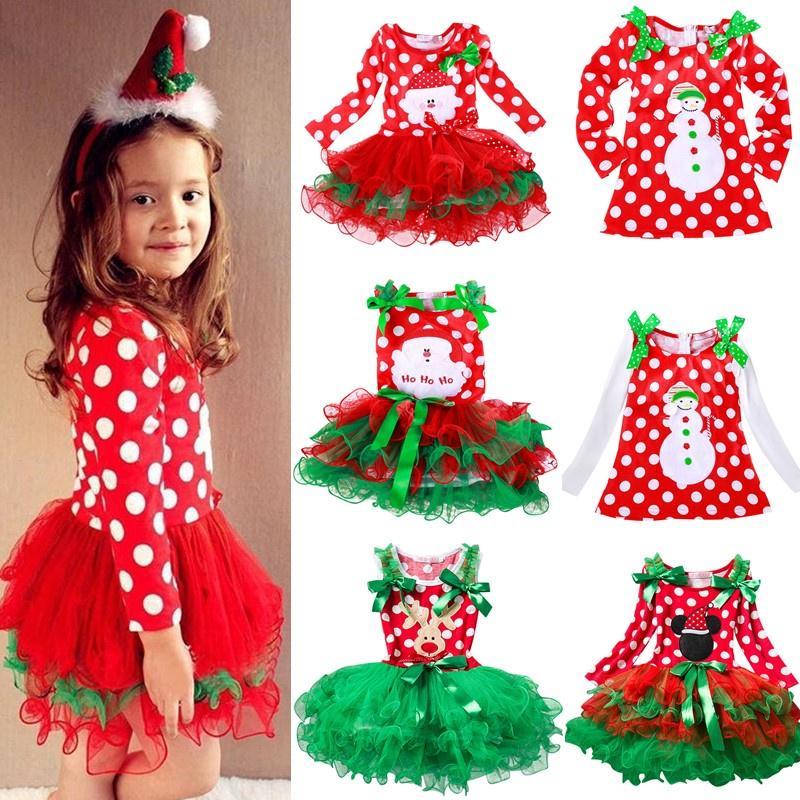 UK Christmas Xmas Newborn Kid Baby Girls Plaids Pageant Tutu Dress Outfit Set