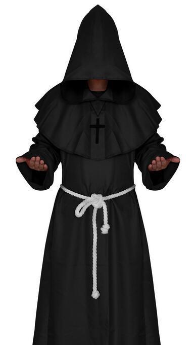 Rana pescatrice con cappuccio Robes mantello Cape frate Sacerdote Costume
