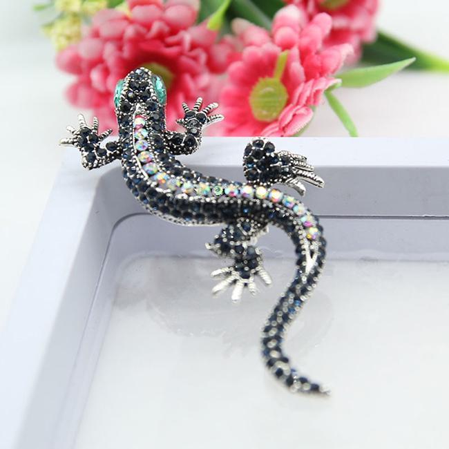 Женщин старинные личности ящерица мило Gecko брошь творческих эмаль горный хрусталь Драгоценные аксессуары фото