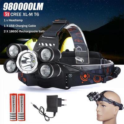 50000LM 3*XM-L T6+2*XPE LED USB Stirnlampe Scheinwerfer Headlampe Kopflampe