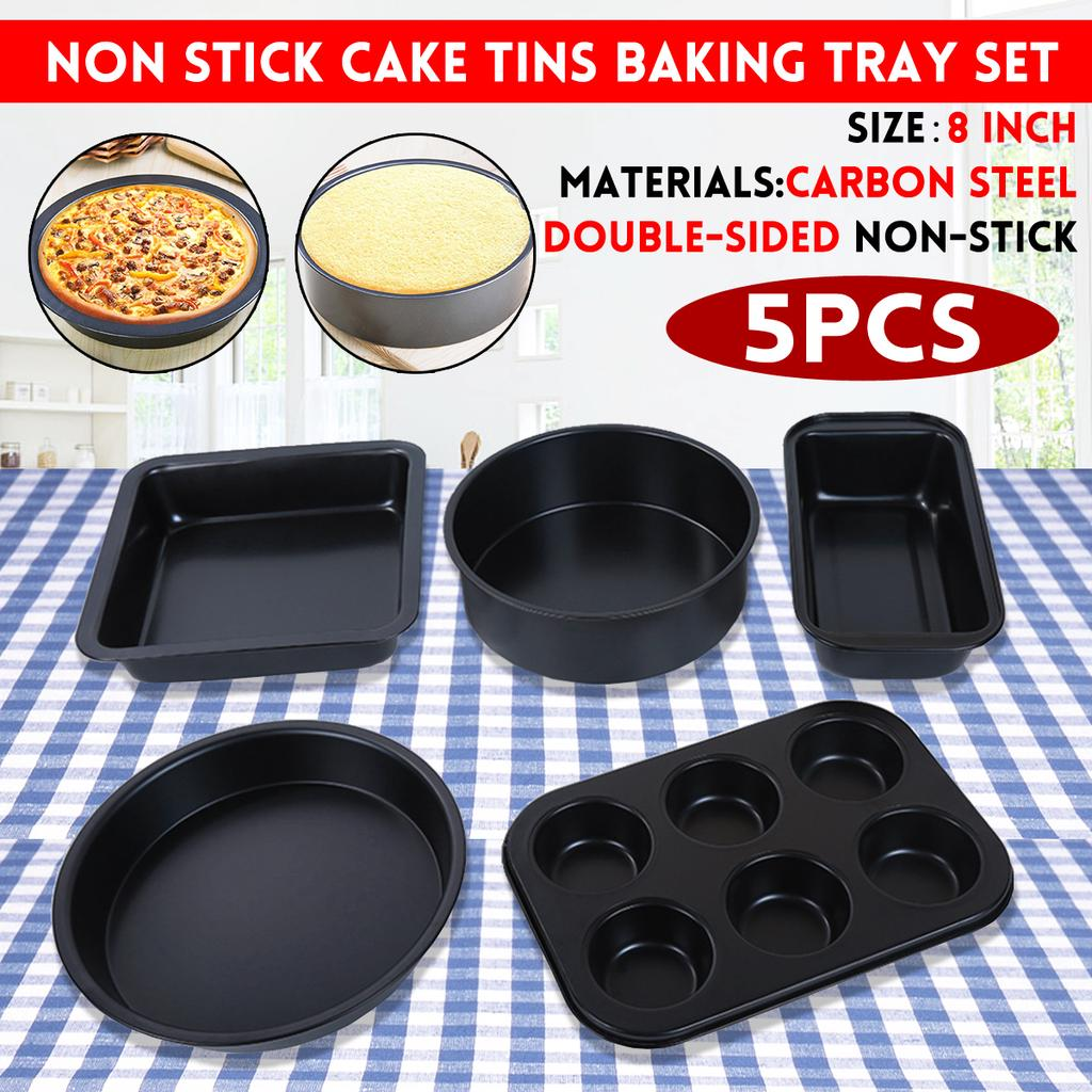 3PCS Square//Round Cake Pan Bread Baking Dish Mould Non-stick Removable Mold S