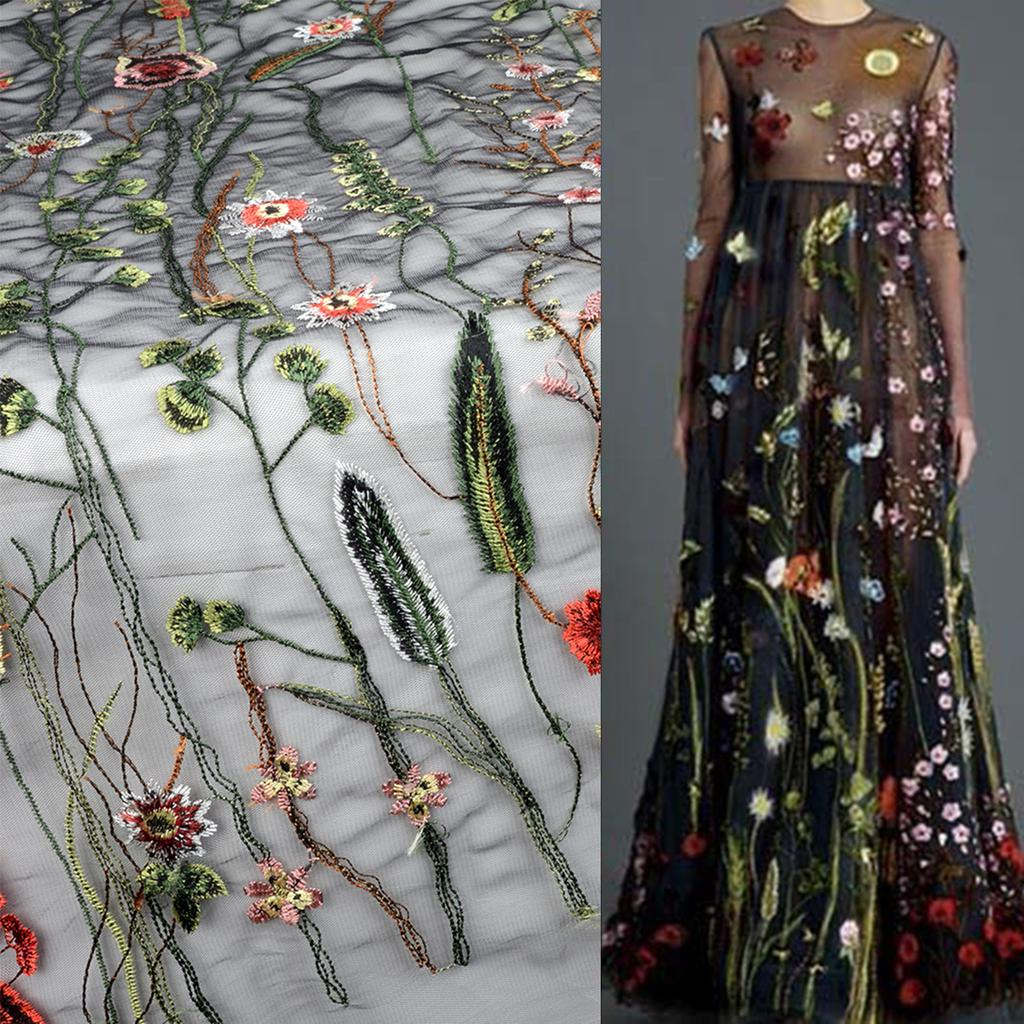 Maijiabao 135 * 100 см черный цветок цветочные вышивки сетки свадьбы фату кружевной ткани – купить по низким ценам в интернет-магазине Joom