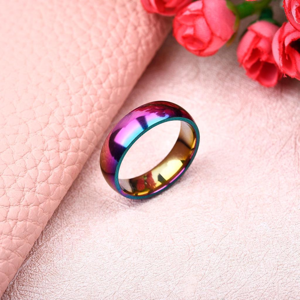 Charm Rainbow Colorful Couple Ring For Men Women Fashion Wedding ...