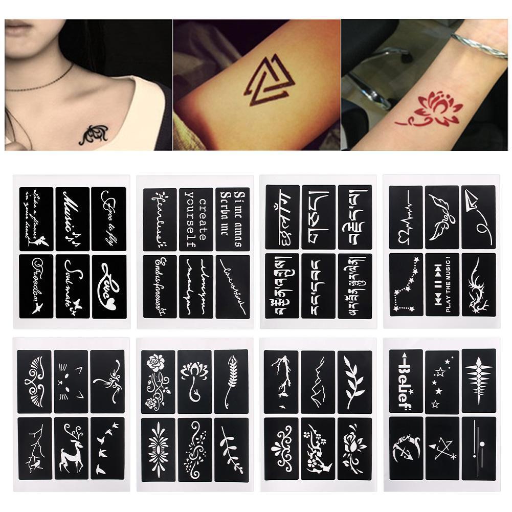 1 Blatt Körper Kunst malen Schablone temporäre Henna Tattoo ...