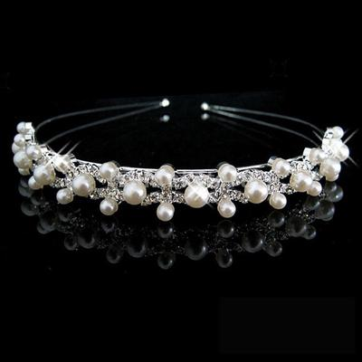 Children Kids Wedding Bridal Women Girls Hair Band Pearl Wave Headband Crown