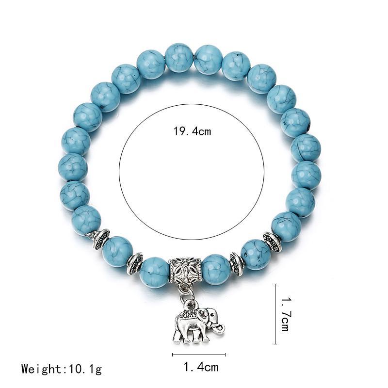 Ocean Blue Beaded Bracelets with Silver Elephant Charm