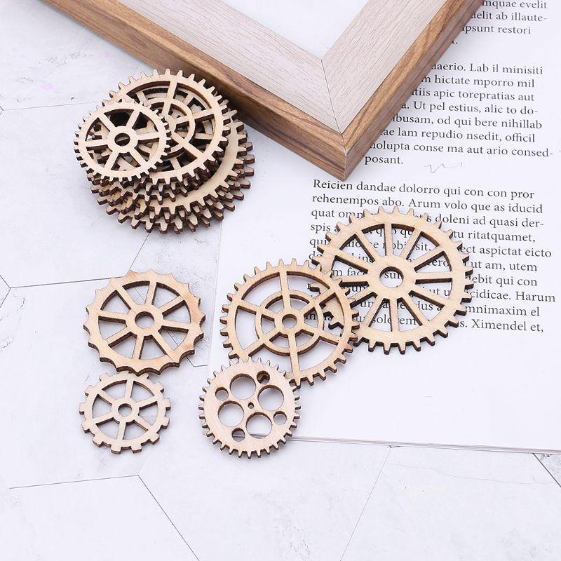 50pcs Laser Cut Gear Embellishment Wooden Shape Craft Wedding Decor