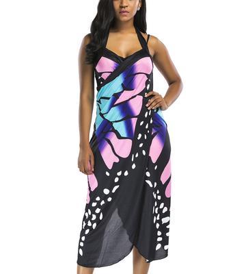 9e9568b75eff Sexy Women Summer Sleeveless Halter Backless Print Shawl Hollow Beach Dress