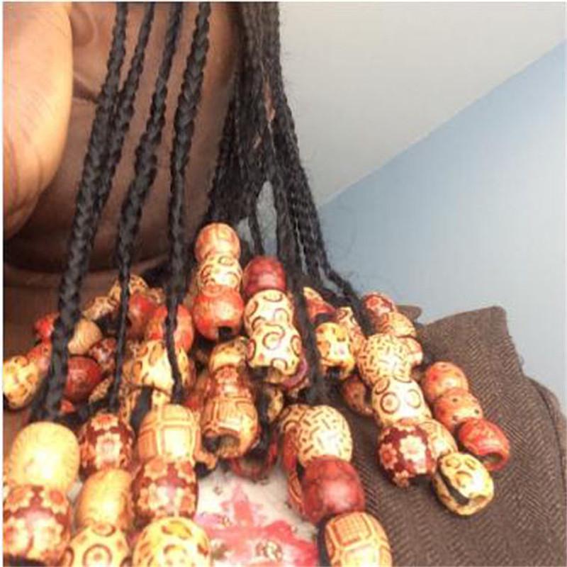 10pcs Wooden Hair Braid Dreadlock Beads Tube Ring Hair Extension Clips BX