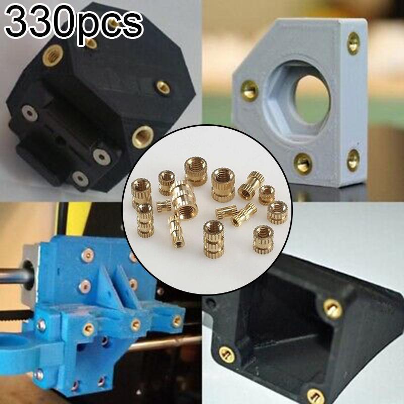 330x Set Knurled Nuts M2//M3//M4//M5 Brass Threaded Insert Fastener Tools Supplies