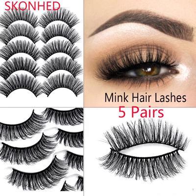 9d01629af2e SKONHED 5 Pairs Long Voluminous Handmade Extension Tools False Eyelashes 3D  Mink Hair Wispy Lashes
