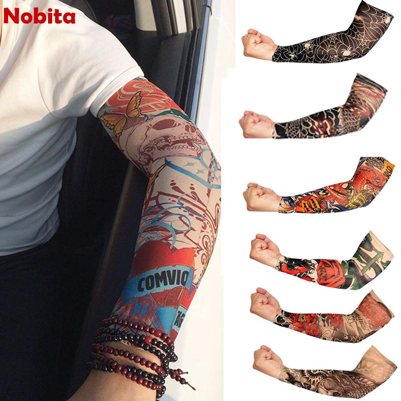 Men's Arm Warmers Strict 1pc New Arrival Nylon Tatoo Arm Stockings Arm Warmer Cover Elastic Fake Temporary Tattoo Sleeves For Men Women