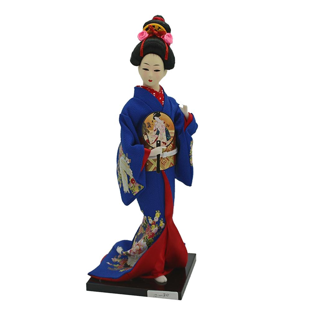 3 Pieces 30cm Vintage Japanese Doll Kimono Geisha Figure Statue for Shop