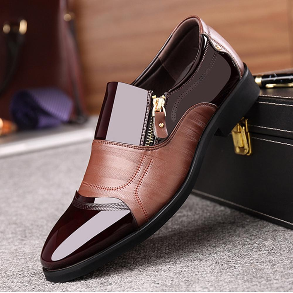 YLY Classic Mens Formal Oxfords PU Leather Lace Up Soft Sole Flats Dress Shoes Breathable