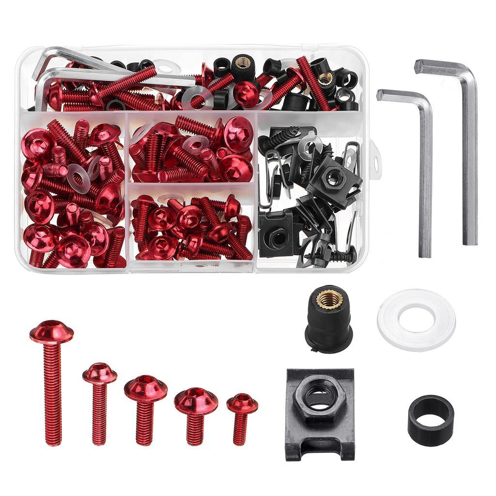 CNC Alloy Complete Fairing Bolt Kit Bodywork Screws Nuts For Honda Red