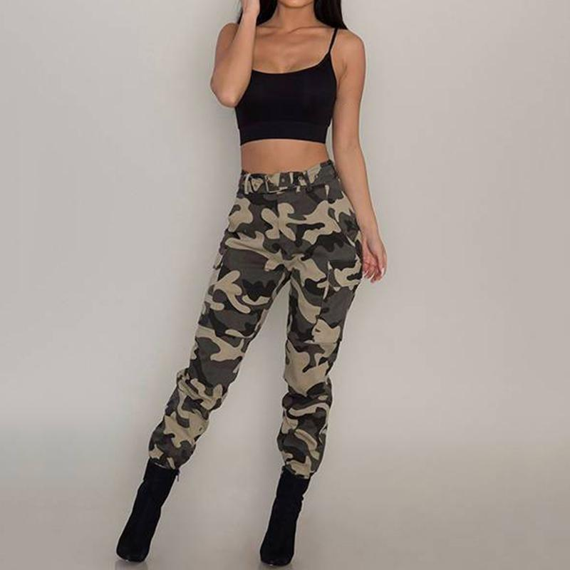 Womens Camo Cargo Causal Trousers Casual Military Army Combat Camouflage Pants