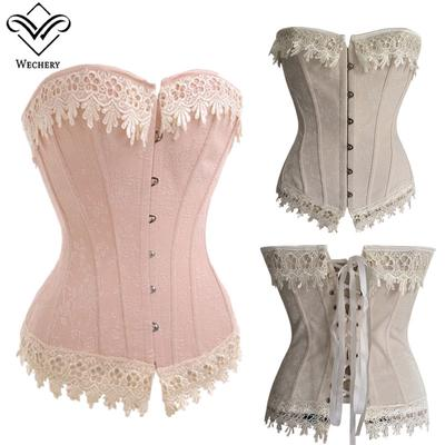 45546edb11236 Women Sexy Lace Overbust Party Wedding Corset Top Clubwear Showgirl Body  Shaper Lace Up Bustier Tops