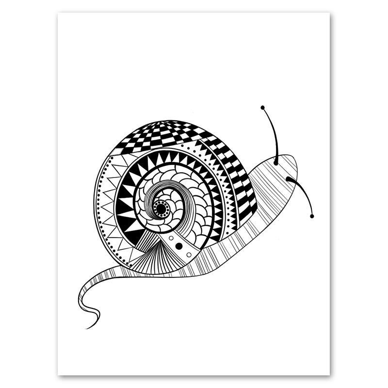 1 par de caracol blanco y negro impresión pintura sin marco ...