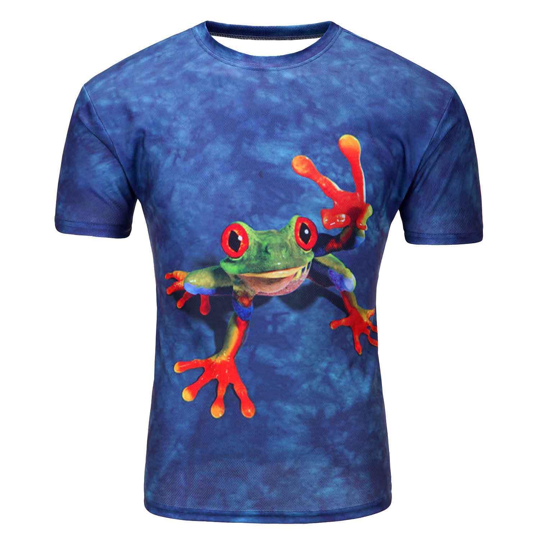 时尚休闲 男式3DT恤 青蛙印花 圆领短袖T恤 厂家直销
