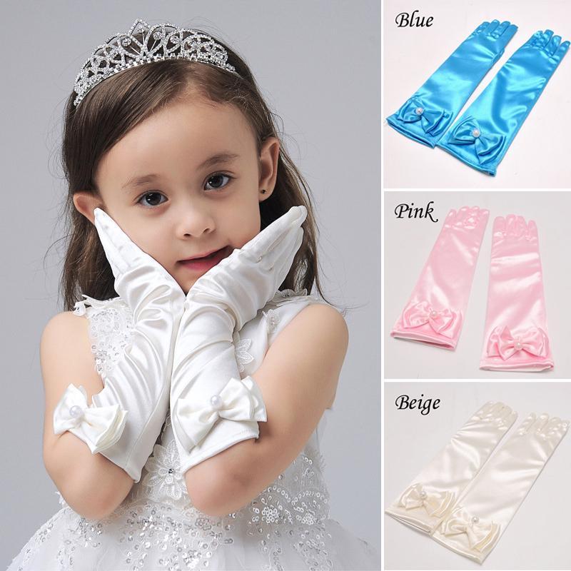 Childrens satin dance dress princess dress long gloves-1 pair for sell