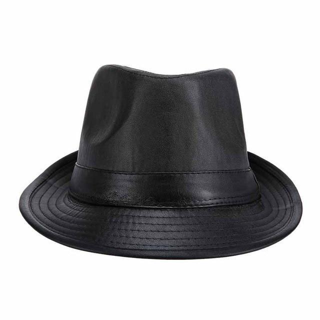 cc13a480ac24c Nova marca PU preto Fedora chapéus para homens Inglaterra clássico estilo  Caps moda Casual Jazz chapéu Vintage