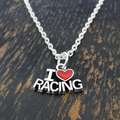I Love I Love Racing Charm Pendant Car Racing necklace