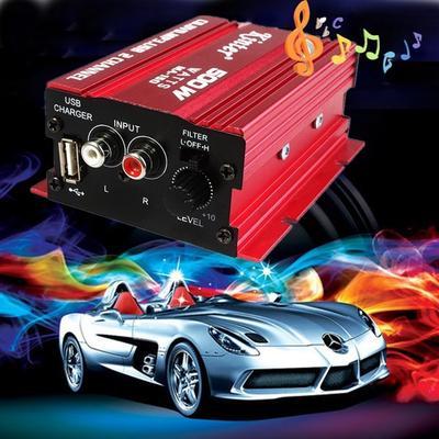 500W 12V 2CH HiFi Stereo Audio Power Amplifier Car MP3 Speaker Hot