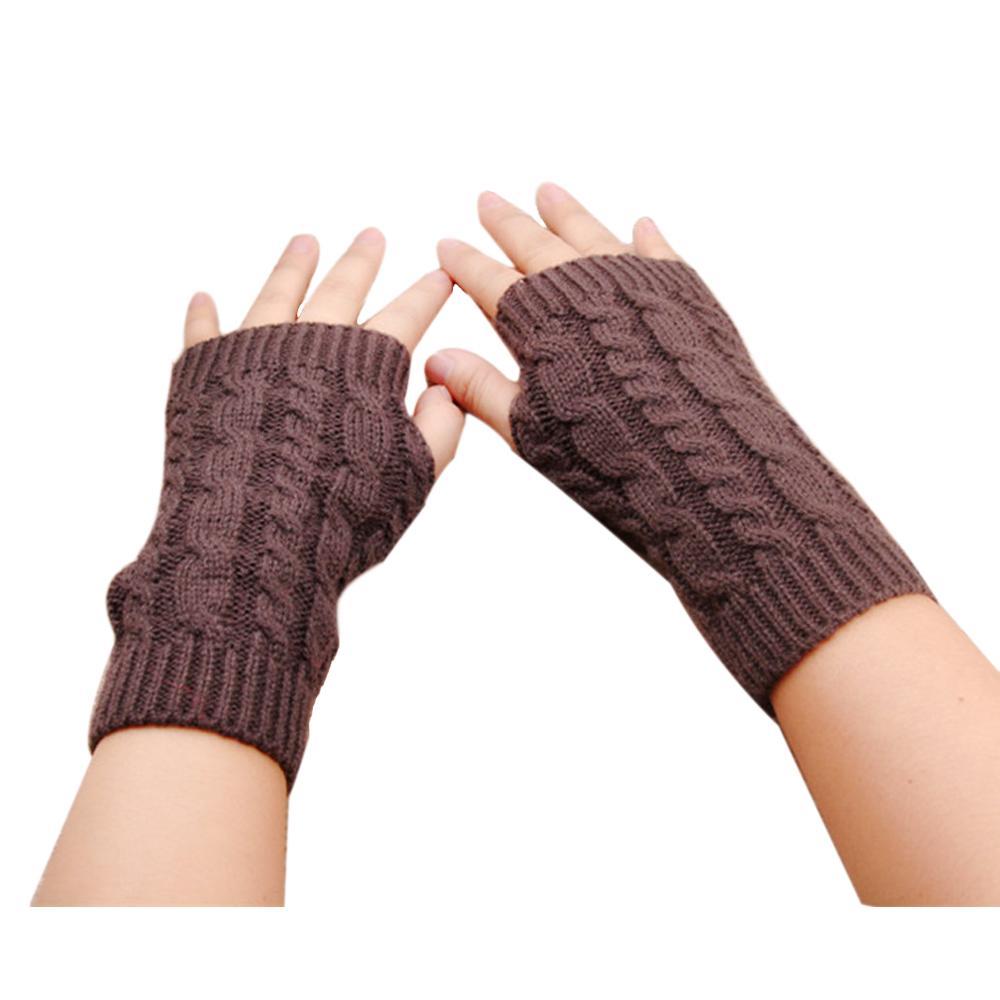 Guantes tejidos sin dedos ganchillo muñeca elástico manopla mano ...