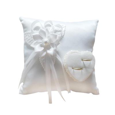 Ring Bearer Pillow Wedding Ceremony Heart Shaped Bridal Party Accessory White