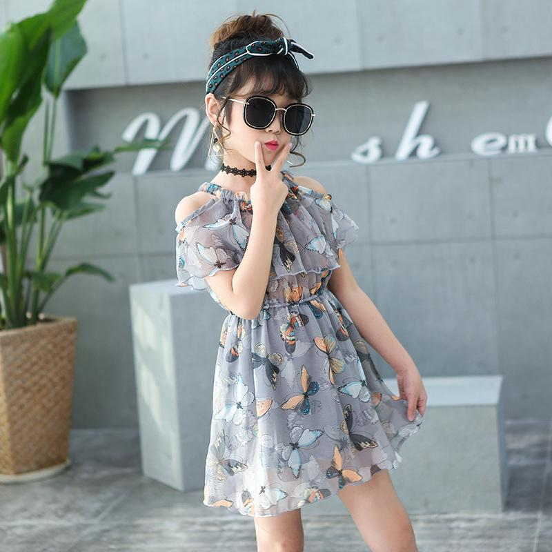 New Off Shoulder Casual White Princess Girls Dress Chiffon Party Kids Clothes