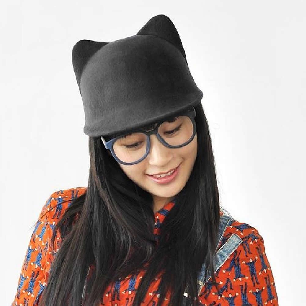 Winter Fashion Women Devil Hat Cute Kitty Cat Ears Wool Derby Bowler ... 8459e977a088