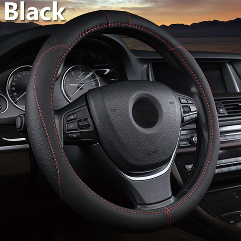 Semoic 38cm Car Steering Wheel Cover Fit for All 99/% Car Models Accessories Beige Universal Leather Steering Wheel Cover