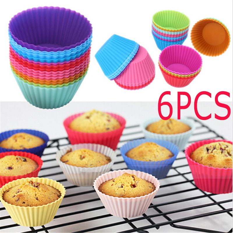 12//24 x Silicone Round Cup Cake Muffin Cupcake Egg Tart Cases Baking Moulds Pan